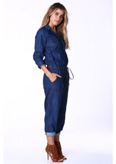 Patricia Denim Jumpsuit in Blue | Necessary Clothing