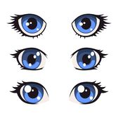 Illustration of Blue Cartoon Anime Eyes Set. Vector illustration vector art, clipart and stock vectors. Regard Animal, Doll Face Paint, Eye Illustration, Doll Eyes, Doll Repaint, Soft Dolls, Manga Drawing, Fabric Dolls, Doll Patterns