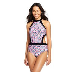 Women's Geometric Print High Neck One Piece Swimsuit - Cleanwater
