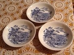 Wedgewood Blue Countryside Three 7 3/4 soup bowls blue