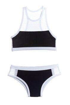 Submarine 2pc Elegant Black & White Girls Swimsuit *Top Seller*