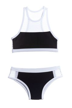 acff3d90ba850 Black and White Mesh Racer Swimsuit Kids Two Piece Bikini Summer Bathing  Suits