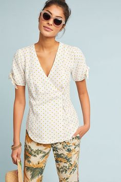 85c33d398355 Slide View: 1: Louise Wrapped Blouse Eva Mendes Collection, Wrap Pants,  Anthropologie