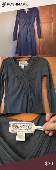 Aventura gray dress from a boutique in Door County Long sleeve, vneck comfortable, cute with leggings and boots and fun accessory...because it's gray it's so versatile! aventura Dresses Midi