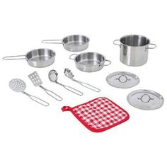 Your little chef will serve a make-believe feast using the Teamson Kids Little Chef Frankfurt Stainless Steel Cooking Accessory Set. This stainless steel set is much more durable than plastic cookware. The set includes 11 pieces: 1 pot, 2 frying pans, 1 p Kids Play Food, Play Food Set, Kids Play Kitchen, Toy Kitchen, Pots And Pans Sets, Little Chef, Pan Set, Cookware Set, Stainless Steel Material
