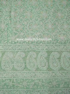 Sea Green Chikankari  Suit with Heavy Golden Mukaish/ Badla Work (Kurta and Dupatta)