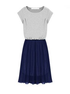 Contrast Color Chiffon Splicing Pleated Design Short Sleeve Dress
