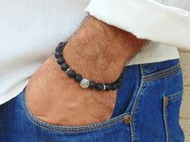 Lave bracelet for men , Peace charm Black bracelet