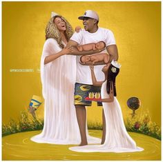 """We got 99 problems but twins ain't one"""" -The Carters by @penciledcelebrities  (Tag Bae) www.raystylesstudios.com #supportblackart #penciledcelebrities #raystyles #beyonce #jayz #blueivy #twins #thecarters #illustration #blackart #digitalart..."""