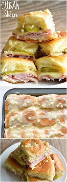 These delicious little Cuban Sliders are loaded with ham, swiss cheese, dill pickles, and then topped with a dijon mustard onion spread! Yummy Appetizers, Appetizer Recipes, Appetizer Ideas, Party Recipes, Lunch Recipes, Drink Recipes, Cuban Sliders, Oven Sliders, Super Sliders