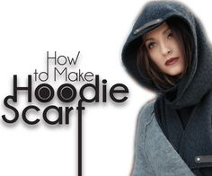 This is fun. Do it yourself (DIY) sewing project! Great for beginners! In this sewing tutorial, learn how to make a high fashion designer hoodie scarf. These stylish scarves are super warm and comfortable for the. Sewing Hacks, Sewing Tutorials, Sewing Patterns, Sewing Tips, Sewing Ideas, Scoodie, Hooded Scarf Pattern, Caplet Pattern, Sewing Scarves