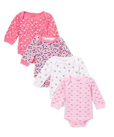 Another great find on #zulily! Pink & White Long-Sleeve Four-Piece Bodysuit Set - Infant #zulilyfinds