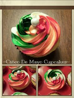 Ciñco De Mayo Cupcakes!  Red, White and Green swirl frosting.