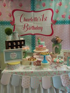 Shabby chic Cath Kidston birthday party! See more party ideas at CatchMyParty.com!