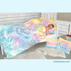 Blume des Lebens Bettwäsche Schlafen wie im Paradies mit Rosenquarzpartikeln in BIO Textilien #lichterleben