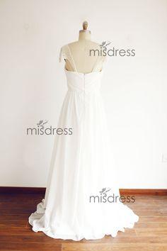 Beaded Pearl Cap Sleeves Chiffon Wedding Dress Bridal by misdress
