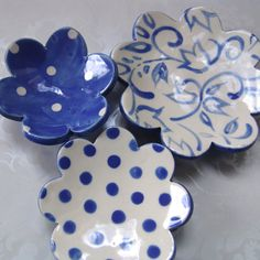 Delft Blue ceramic dish set of THREE flowers for ONE price! The exact set pictured here -- Same dots, color & sizes from these photos The largest
