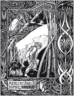 Merlin and Nimue from 'Le Morte d'Arthur', by  Aubrey Beardsley