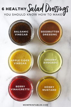 6 Healthy Salad Dressing Recipes You Should Know How To Make — Mom Printables - Kids Crafts, Family Recipes, and Motherhood salads Six Healthy Homemade Salad Dressings — Andianne Healthy Salad Recipes, Healthy Drinks, Balsamic Salad Recipes, Balsamic Vinegar Recipes, Fruit Recipes, Salmon Recipes, Healthy Smoothies, Recipies, Honey Mustard Dressing