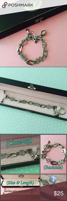 💖👑Juicy Couture Charm Bracelet 💖Gorgeous Juicy Couture silver charm bracelet + one starter charm (silver heart w/ gold logo). Toggle closure. 100% authentic as I purchased this myself at Nordstrom years ago. Worn once and has been stored in it's original case which I'll include! Excellent condition except for tiniest nick in metal (see 3rd pic) & minor tarnish on back of one charm which can't be seen when worn. PRICE FIRM unless bundled!💖 Juicy Couture Jewelry Bracelets