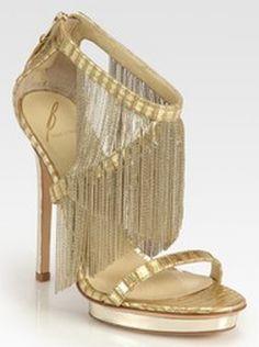 B Brian Atwood Cassiane Chain Fringe Platform Sandals