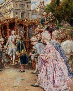 Juan Pablo Salinas y Teruel - - The prince's arrival, detail [monsieurleprince] Classic Paintings, Old Paintings, Paintings I Love, Beautiful Paintings, Victorian Paintings, Victorian Art, Marie Antoinette, Rococo, Classical Art