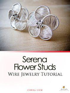 Step By Step Wire Jewelry Tutorial, DIY Pattern, Serena Flower Studs / Post Earrings.