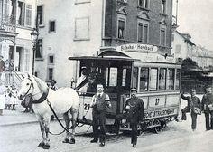 Das letzte Rösslitram in Zürich am 5. August 1900 vor dem Restaurant Friedensburg im Seefeld  -  Rösslitram - Strassenbahn Zürich