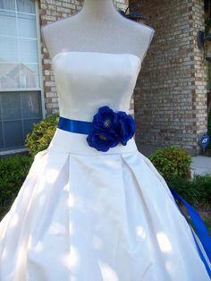 Royal Blue Wedding,Royal Blue Sash,Flower Sash,Bridal Sash