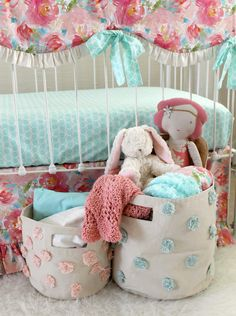 Pastels and Peonies Accessories Aqua and Pink Bumperless Baby Girl Bedding Set Extras #affiliate