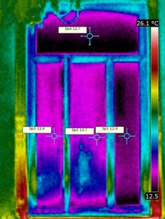 Fichier:Imagerie thermique fenetre film thermotractile.jpg - Thermographic's Library -  Thermography of the comparison on  a window of the use of an insulation's film