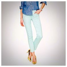 J. Crew Dotted Spearmint Cropped Matchstick Jeans These adorable jeans have only been worn once, however there are a couple of very small, faint stains {2nd photo} that are very difficult to see unless you're looking for them. Size 27 waist, cropped matchstick style. These beauties are sold out on the J. Crew website right now for being so popular! Get them here for a steal!  Smoke/pet free home! Ask all questions before buying  NO trades ❌ Bundle for a discount  •blouse, necklace & watch…