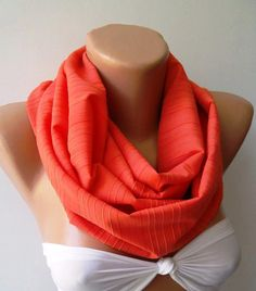trendscarf  Coral  Color  Infinity Scarf Loop Scarf by womann, $18.00