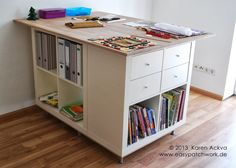 Materials: 3 (2 x 2) Expedit Shelves, 7 Capita Legs, Wood Screws, Pressed Board 79 x 118 cm, Butcher Block 100 x 140 cm, Sand Paper, 10 L-Brackets, Wood Stain or Wax, Good Strong Partner Willing to Help Description: I am really EXCITED to share with you my new sewing room cutting table. This table [&hellip