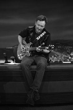 Conan O'Brien playing guitar during rehearsal. Conan O Brien, Tim Roth, Jon Stewart, O Brian, Rock N Roll Music, People Of Interest, Stephen Colbert, Martin Scorsese, Jimmy Fallon