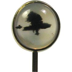 Laura's lifeintheknife on Ruby Lane: Antique Victorian 10K Gold Picture Agate Stick Pin