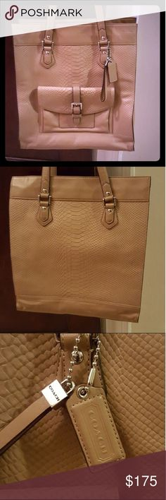 """NWOT Coach Charlie embossed python leather tote Beautiful bag with great detail. 1 large inside zipper pocket and 2 open pockets. 1 exterior flap pocket Retail $558.00 Embossed Python Leather Tote Silver Hardware Close Protective Feet Size: 14"""" H, 12.5"""" L, 6"""" D INSIDE: 1 Large Zippered Pocket 2 Open Pockets Coach Bags Totes"""