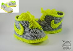 Many moms buy the same clothes for the children and themselves. What about the shoes? Send as a pictures of your sport boots and We will knit a pair of alike booties for your baby. #babystepstore #babybooties