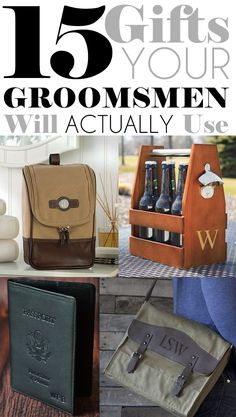 15 Useful and unique personalized thank you gift ideas for your best man, groomsmen and ring bearer that are functional and trendy. Not just for groomsmen, this handy list contains great birthday, anniversary, graduation and Christmas gift ideas for all men including your husband, dad, boyfriend, brother or best friend as well. See all 15 gift ideas at http://blog.myweddingreceptionideas.com/2015/10/15-gifts-your-groomsmen-will-actually.html