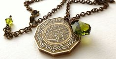 Algerian, Coin necklace, Swarovski necklace, Vintage necklace, Arabian jewelry, Vintage coins, Coin jewerly, Olivine green, Coins, 1979