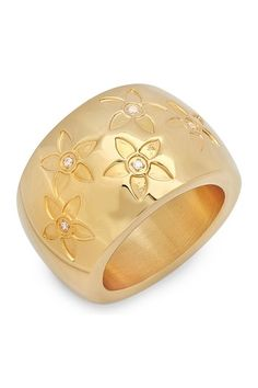 Go For Gold: Jewelry Essentials on HauteLook- Stamped Flower & Simulated Diamond Ring