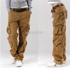 Wholesale Overalls - Buy Khaki Women's Overalls Bags of the Straight Trousers Casual Pants Hip-hop Pants Couple Pants, $51.14 | DHgate