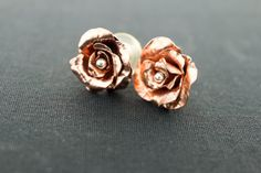 Hey, I found this really awesome Etsy listing at https://www.etsy.com/listing/217631583/copper-rose-studs-sterling-silver-ear