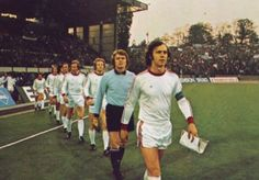 Franz Beckenbauer leads Bayern Munich our for the European Cup Final in European Cup, Football, Munich, Soccer, Kaiser, History, 1970s, Sports, People