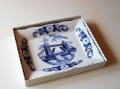 Vintage J H Weatherby, Dish, Tower Bridge London, Blue White China, In Box