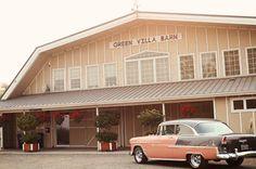 Summer barn field wedding close to Salem Oregon. Green Villa Barn & Gardens. Old fashioned car