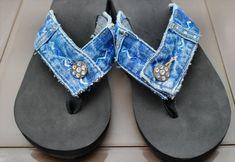 selbstgebastelte Flip Flops aus alter Jeans