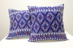 Beautiful hand #embroidered #cushion covers made in #Chiapas   #pillow #mexican #mexicantextiles #embroidered #embroidery #boho #cozy #folk #folklorico #gypsy #casamexicana #decor #homedecor #decoration #ethnic #indigenous #Chiapas #Fridakahlo