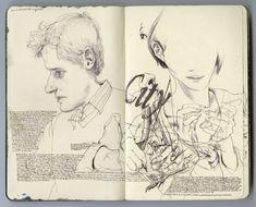 James Jean's moleskine art Moleskine Sketchbook, Artist Sketchbook, Sketchbooks, Moleskine Notebook, James Jeans, Artist Journal, Portraits, Sketchbook Inspiration, Photo Projects