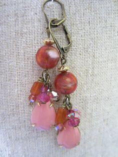 Pink & Orange Earrings - Vintage German Glass and Teardrop Beads
